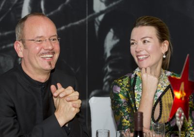 Frank Strobel (conductor) and Kino Klassika Founder Justine Waddell at Sergei Eisenstein's October with the London Symphony Orchestra